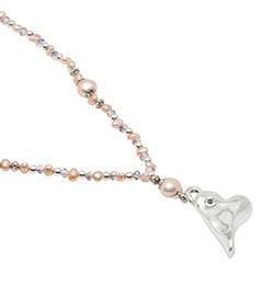 Pearls for Girls. Halsband med rosa pärlor och silverhjärta, längd 45 cm