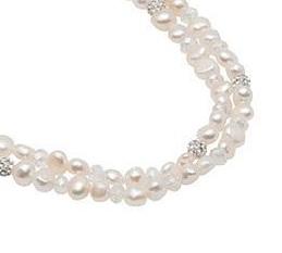 Pearls for Girls. Tvåradigt halsband med vita pärlor, längd 45 cm