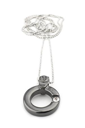 VÅGA smycken, halsband 90 cm ring gun