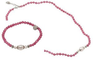 Pearls for Girls halsband och armband, set rosa