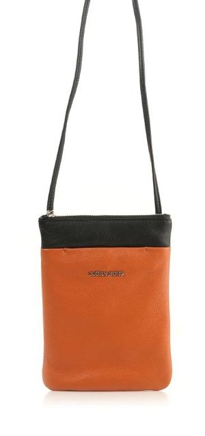 Björn Borg Bags. Axelväska, skinn, Leather shoulderbag S pocket, orange/svart.