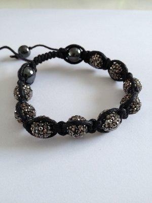 Shamballa armband grå bling