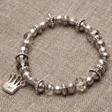 Pearls for Girls. Armband med grå pärlor och silverdetaljer