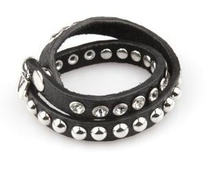VÅGA smycken, läderarmband dubbel med strass, svart