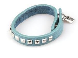 VÅGA smycken, läderarmband turkos