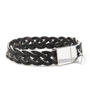 VÅGA smycken, läderarmband flätat, svart