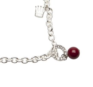 Pearls for Girls. Halsband silverpläterat med röd kula, längd 45 cm