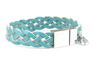 VÅGA smycken, läderarmband flätat, blått