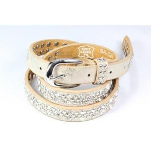 QNUZ Bälte /skärp, guld med nitar och strass, 90 cm