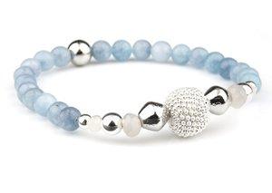 VÅGA smycken, armband blå med bling