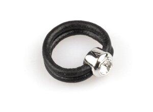 VÅGA smycken, ring läder med strass