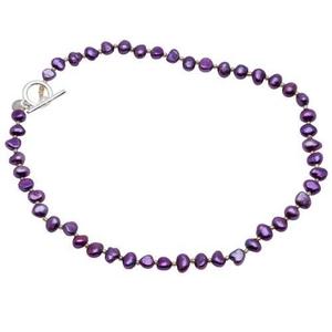 Pearls for Girls halsband med lila pärlor, längd 45 cm