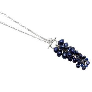 Pearls for Girls halsband med blå pärlor klase, längd 85 cm
