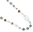 Pearls for Girls. Halsband med gröna pärlor, längd 100 cm