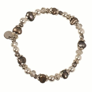 Pearls for Girls armband med bruna pärlor