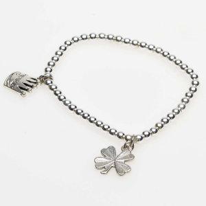 Pearls for Girls. Silverpläterat armband med fyrklöver