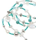 Pearls for Girls. Halsband med grönblå pärlor, längd 110 cm